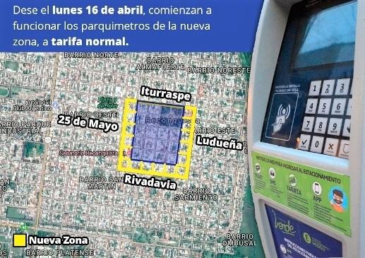 Ojo si vas a Reconquista: Se amplió el área de estacionamiento medido.